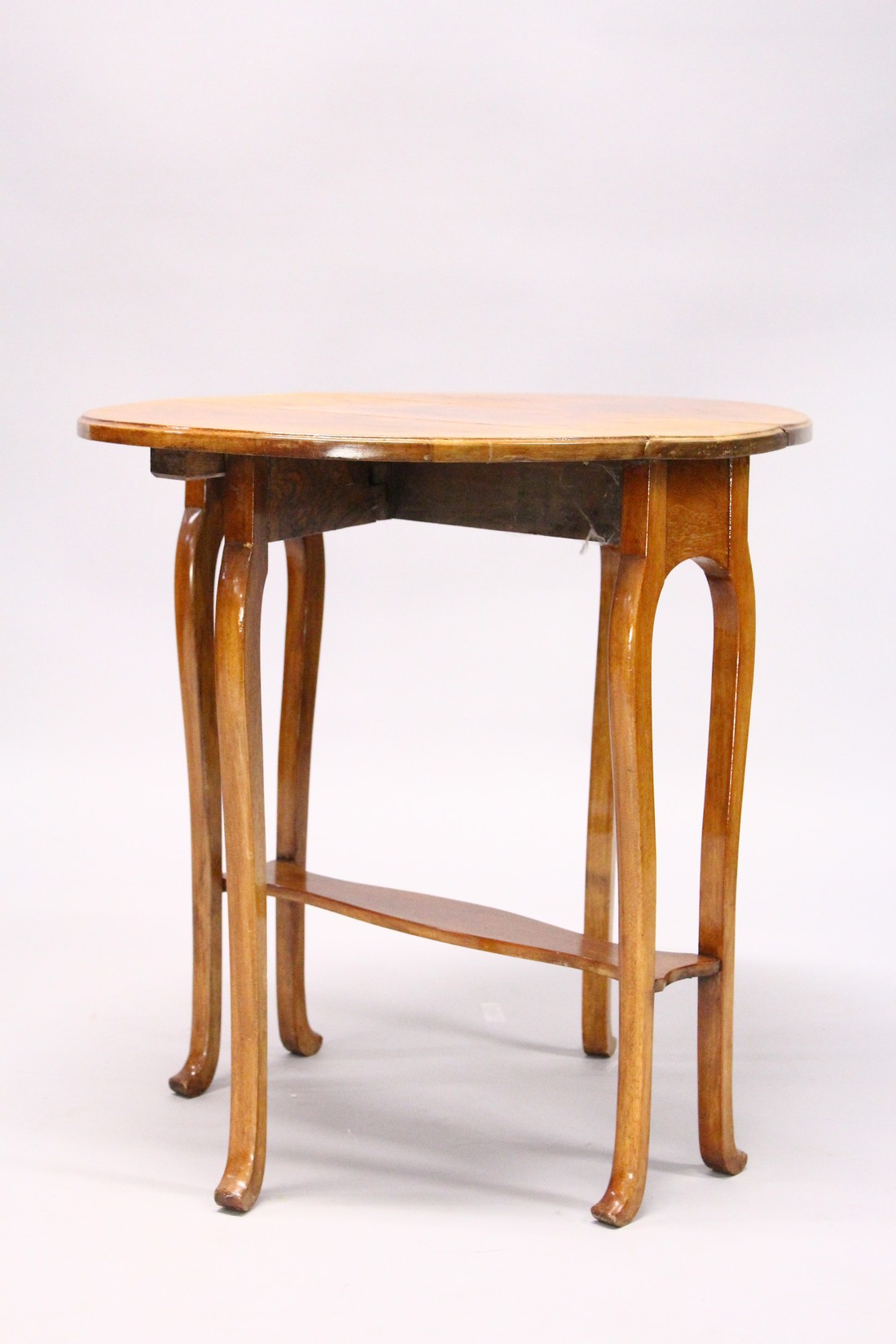 A POLLARD OAK OVAL DROP FLAP TABLE with undertier and curving legs. - Image 2 of 3