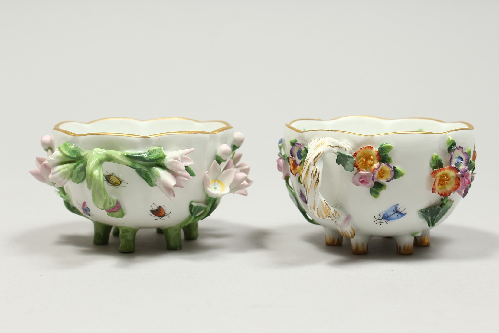 TWO MEISSEN PORCELAIN CUPS AND SAUCERS AND A SAUCER, encrusted with flowers and painted with - Image 5 of 16
