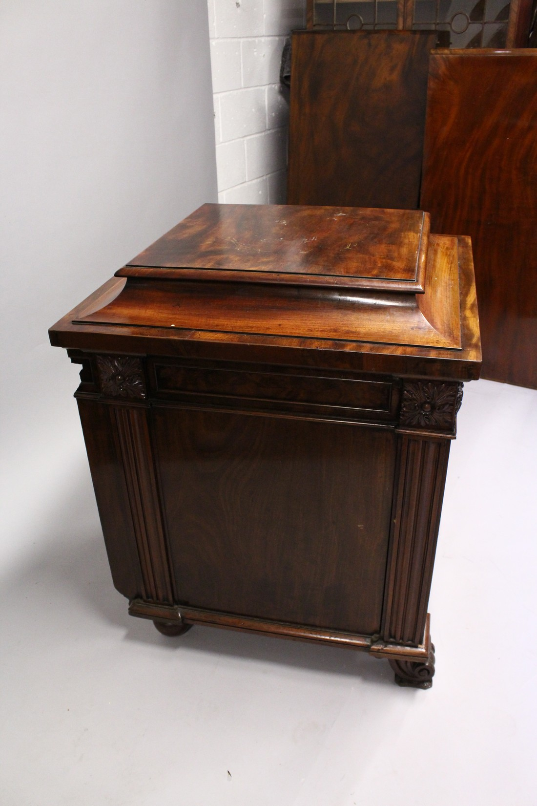 A GOOD 19TH CENTURY MAHOGANY PEDESTAL CUPBOARD, with a concave moulded top, panelled frieze with - Image 3 of 8