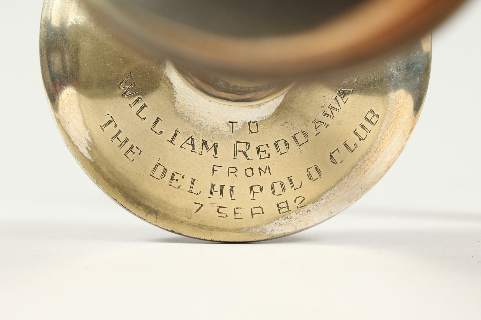 A PAIR OF POLO PRESENTATION CANDLESTICKS, 'To William Reddaway From The Delhi Polo Club', with cross - Image 4 of 6