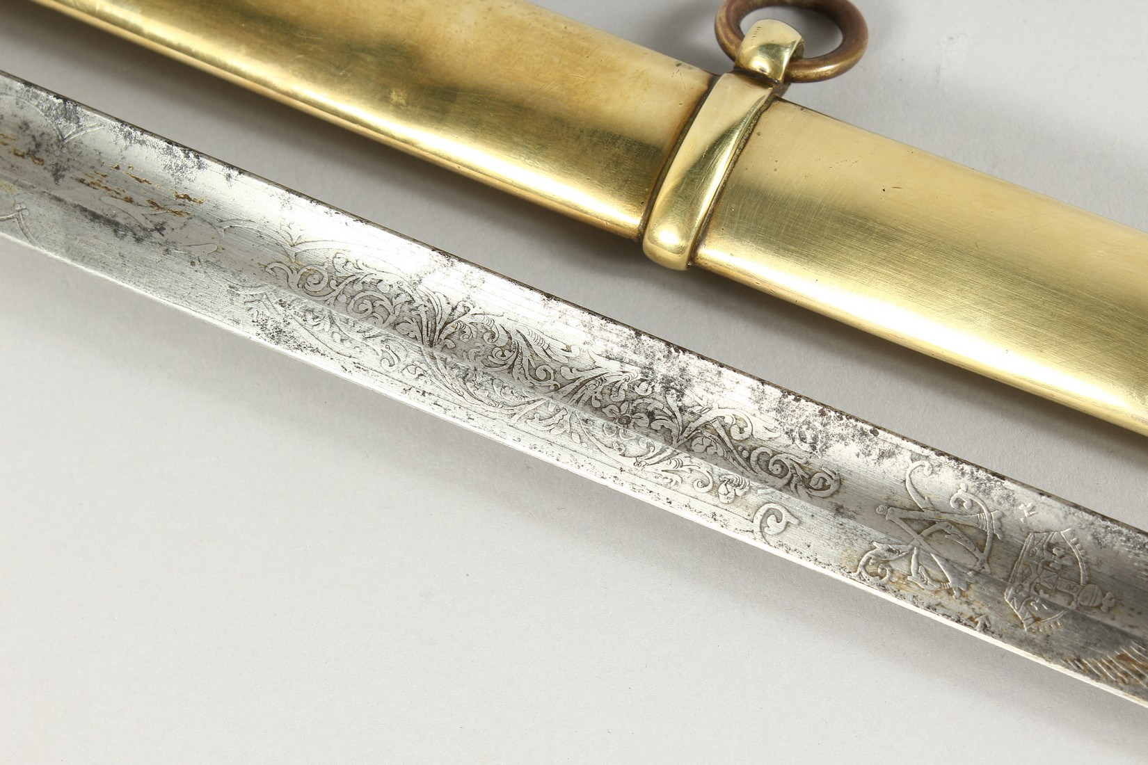 A GOOD VICTORIAN NAVAL SWORD with shagreen handle and engraved blade, V R & Crown inc., brown - Image 14 of 25