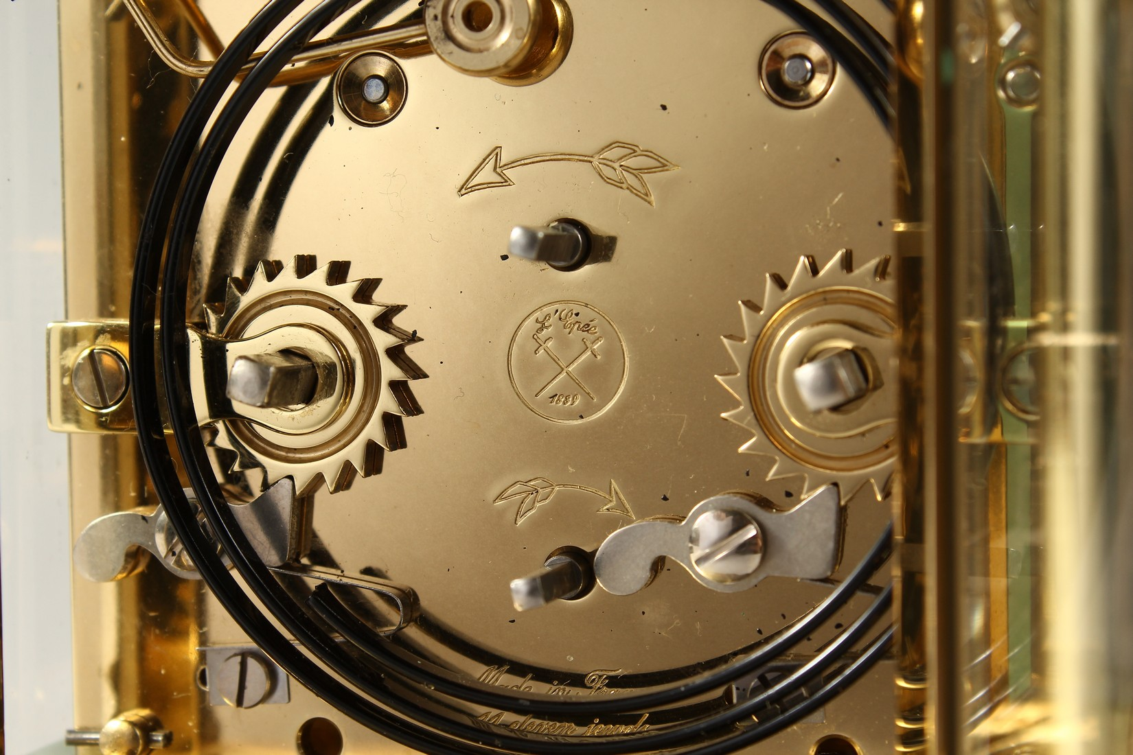 A GOOD ASPREYS BRASS CARRIAGE CLOCK with alarm. 6ins high. - Image 7 of 7
