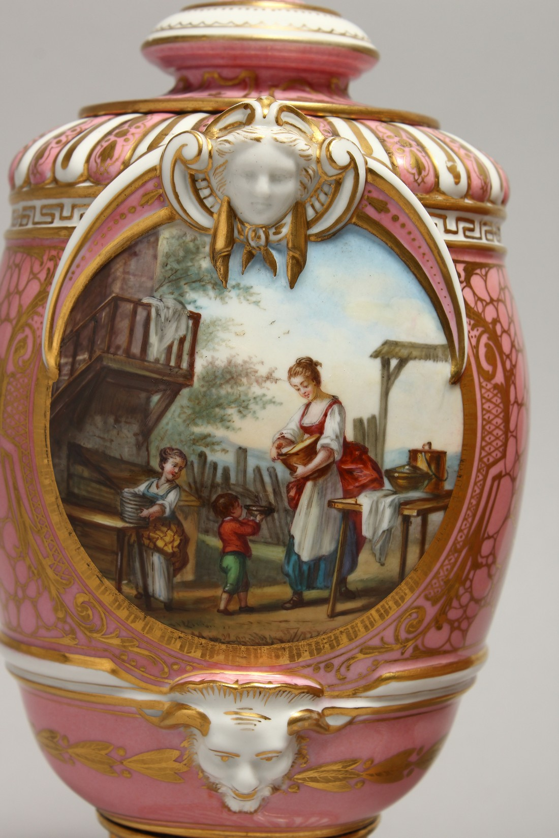 A VERY GOOD PAIR OF SEVRES PINK GROUND VASES AND COVERS each painted with reverse panels of figures, - Image 2 of 12