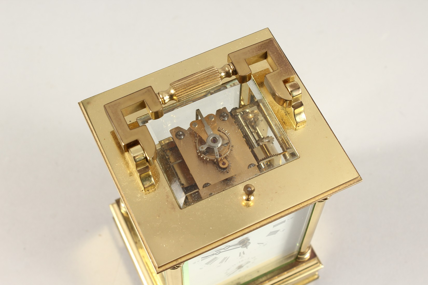 A GOOD ASPREYS BRASS CARRIAGE CLOCK with alarm. 6ins high. - Image 5 of 7