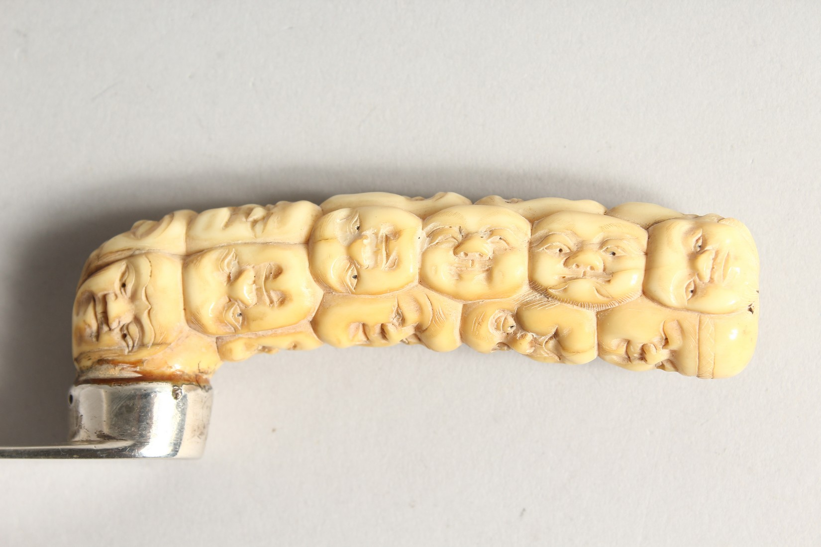 A SILVER LETTER OPENER with carved bone Chinese handles. 10 ins long, London 1804. - Image 4 of 9