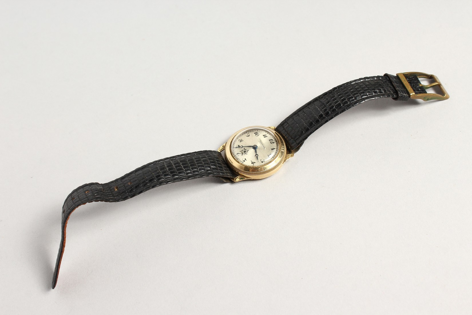 A HARWOOD GOLD WRISTWATCH with leather strap. - Image 2 of 3