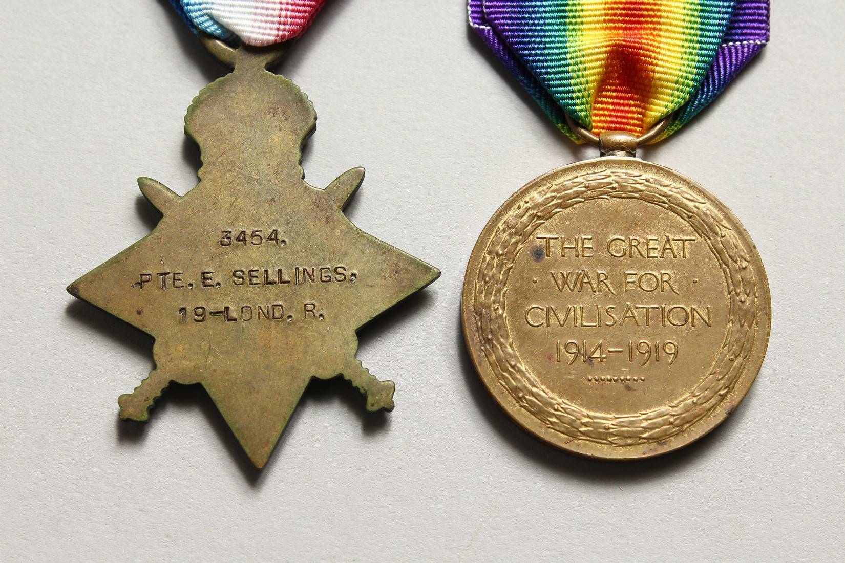 THE MEDALS OF ERNEST SELLINGS, 19 LONDON REG. 3454 610808. - Image 4 of 7