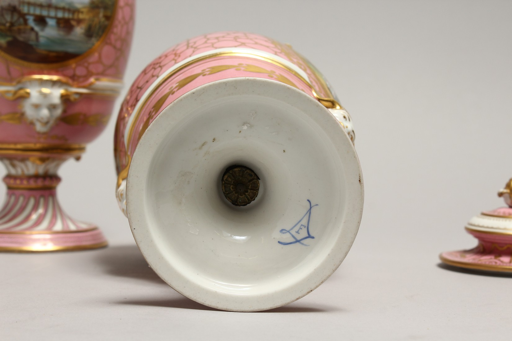 A VERY GOOD PAIR OF SEVRES PINK GROUND VASES AND COVERS each painted with reverse panels of figures, - Image 9 of 12