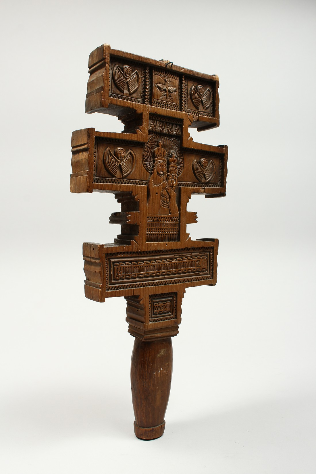 AN 18TH CENTURY GREEK CARVED WOODEN CROSS. 15ins long. - Image 5 of 11