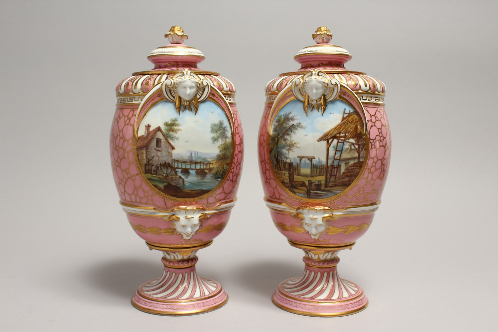 A VERY GOOD PAIR OF SEVRES PINK GROUND VASES AND COVERS each painted with reverse panels of figures, - Image 5 of 12