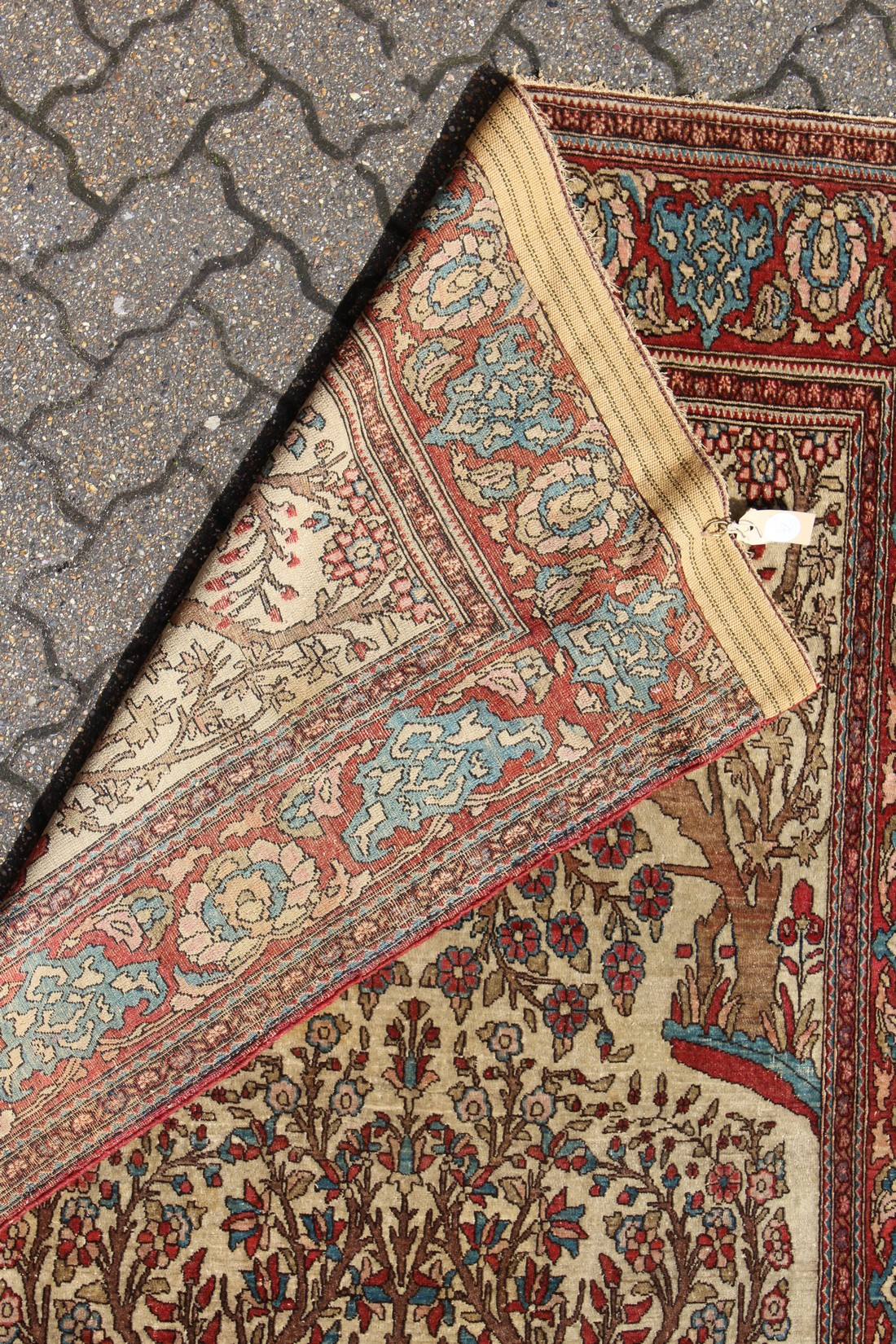 """AN EARLY 20TH CENTURY ISFAHAN """"TREE OF LIFE"""" RUG, beige ground, with a red ground floral border. 7ft - Image 2 of 2"""