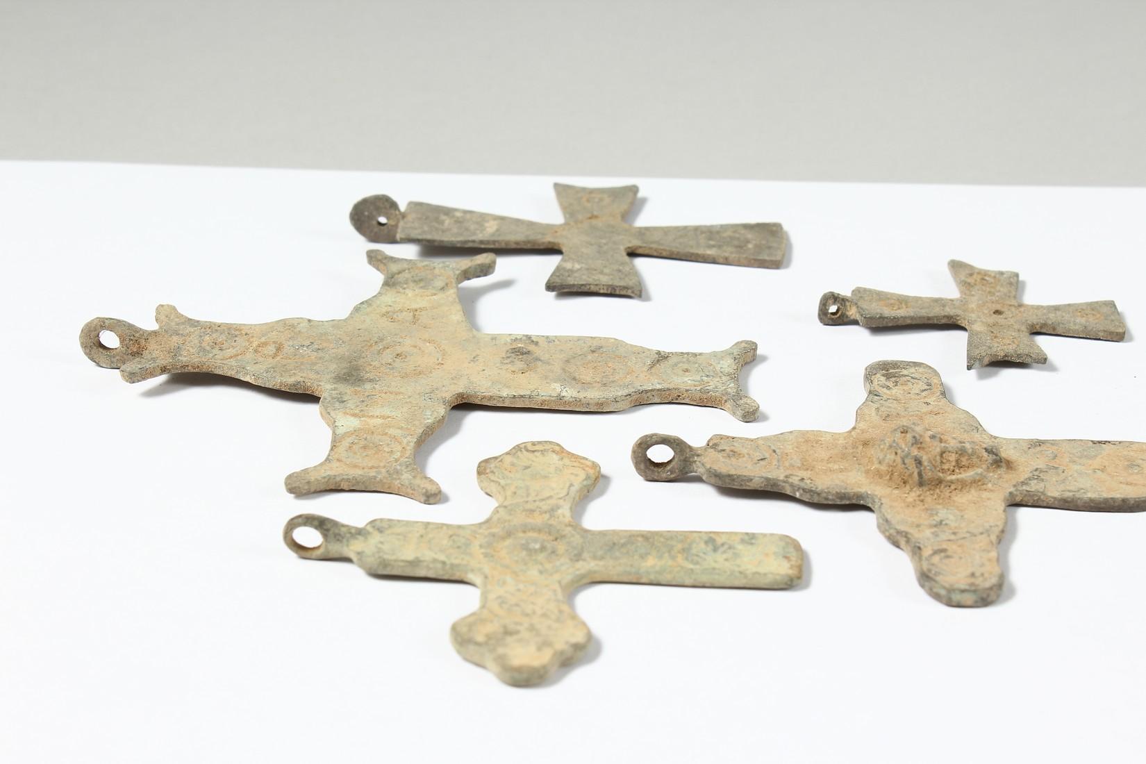 FIVE MEDIUM METAL ROMAN CROSSES. 3ins long - Image 2 of 3