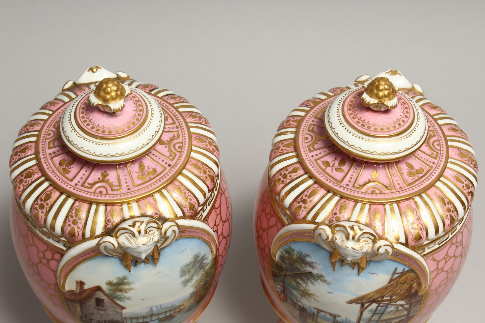 A VERY GOOD PAIR OF SEVRES PINK GROUND VASES AND COVERS each painted with reverse panels of figures, - Image 6 of 12