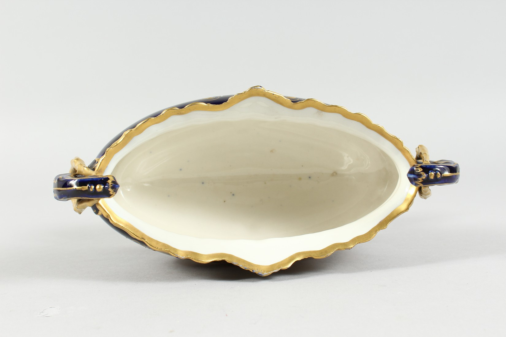 A 19TH CENTURY VIENNA PORCELAIN OVAL JARDINIERE, rich blue ground, edged in gilt and painted with - Image 7 of 11