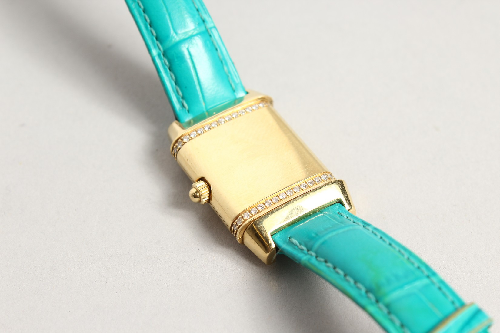 A VERY GOOD 18CT. GOLD AND DIAMOND JAGEUR LE COUTRE REVERSE WRISTWATCH, with a leather strap. - Image 6 of 8
