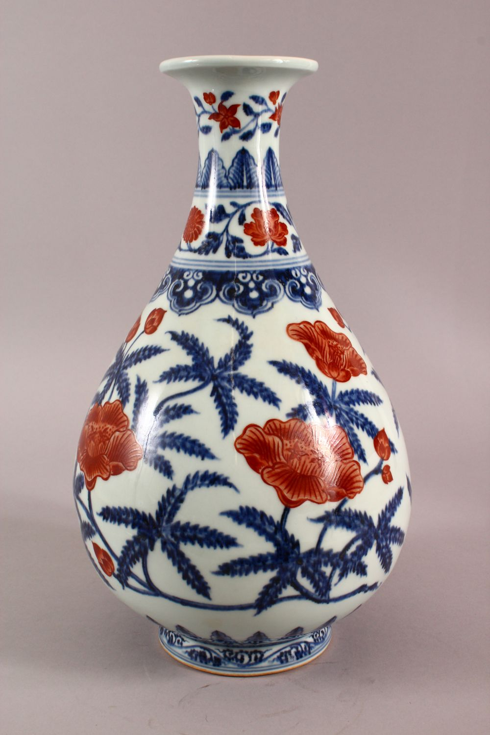 A CHINSE UNDEGLAZED BLUE & COPPER RED LOTUS PORCELAIN VASE, the base with a six character mark, 34cm - Image 2 of 7