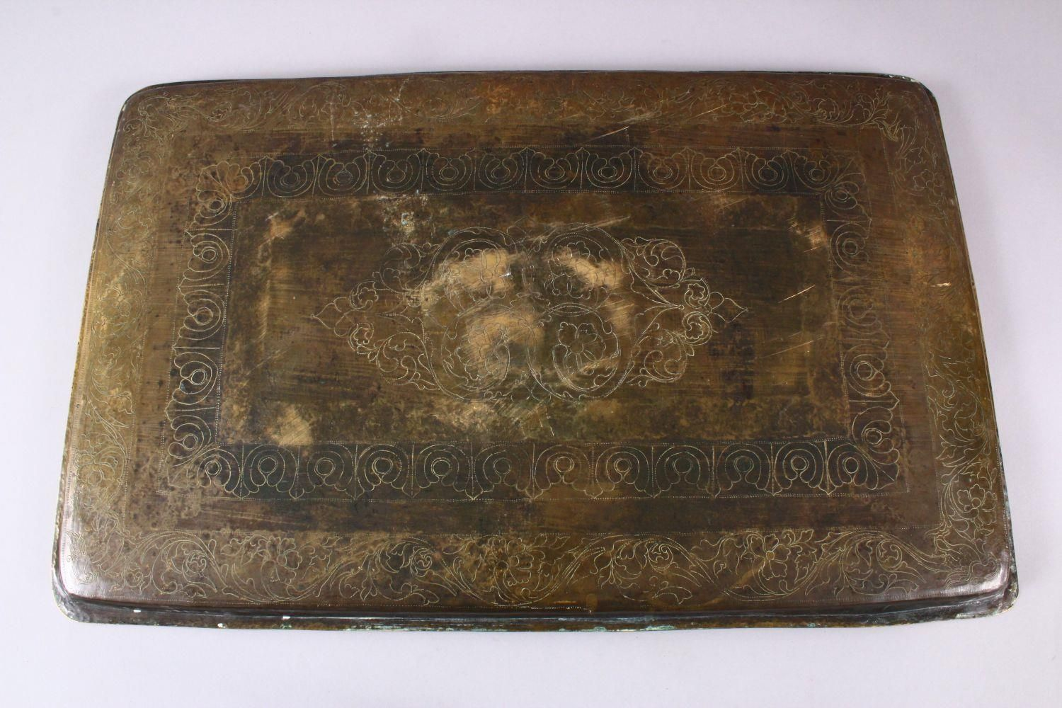 A LARGE EARLY 19TH CENTURY SOUTH INDIAN TANJORE SILVER AND COPPER INLAID RECTANGULAR TRAY, 59cm x - Image 5 of 5
