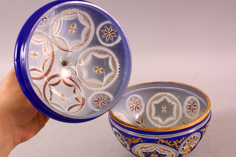 A BOHEMIAN BLUE CUT GLASS ENAMELED SWEET JAR & COVER, 17cm high. - Image 4 of 5