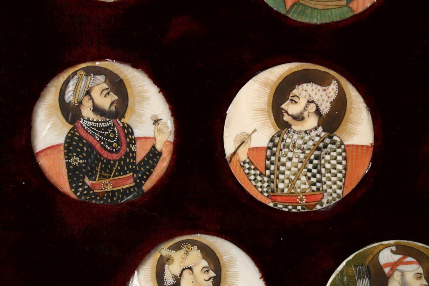 A BOXED SET OF THIRTEEN 18TH/19TH CENTURY PERSIAN CARVED & PAINTED IVORY MINIATURES, each of the - Image 8 of 10