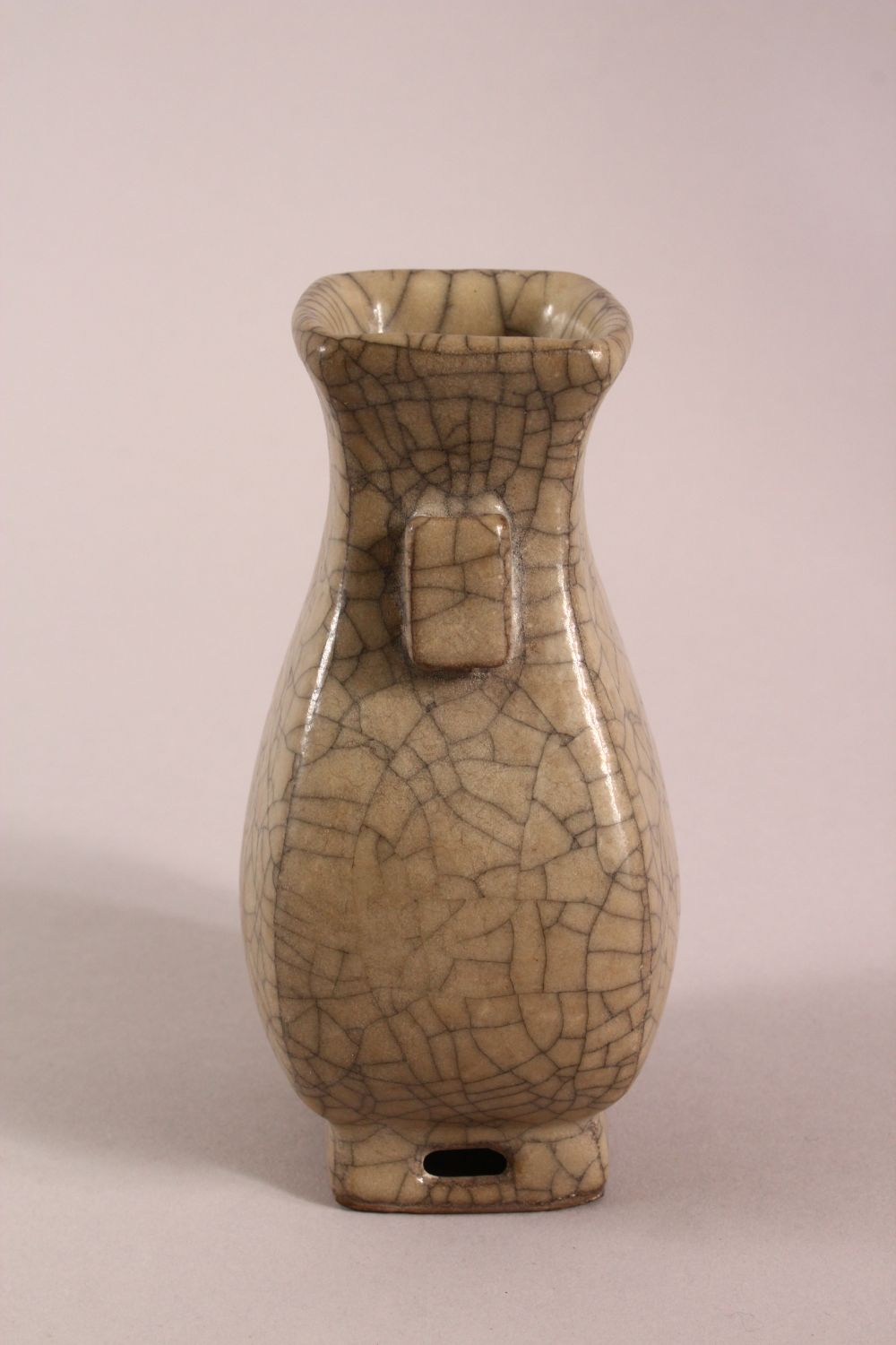 A CHINESE GE WARE TWIN HANDLE ZUN VASE, 15cm high. - Image 4 of 5