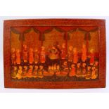 AN EARLY 20TH CENTURY INDIAN KASHMIRI LACQUER CALLIGRAPHIC PANEL, the panel with a band of