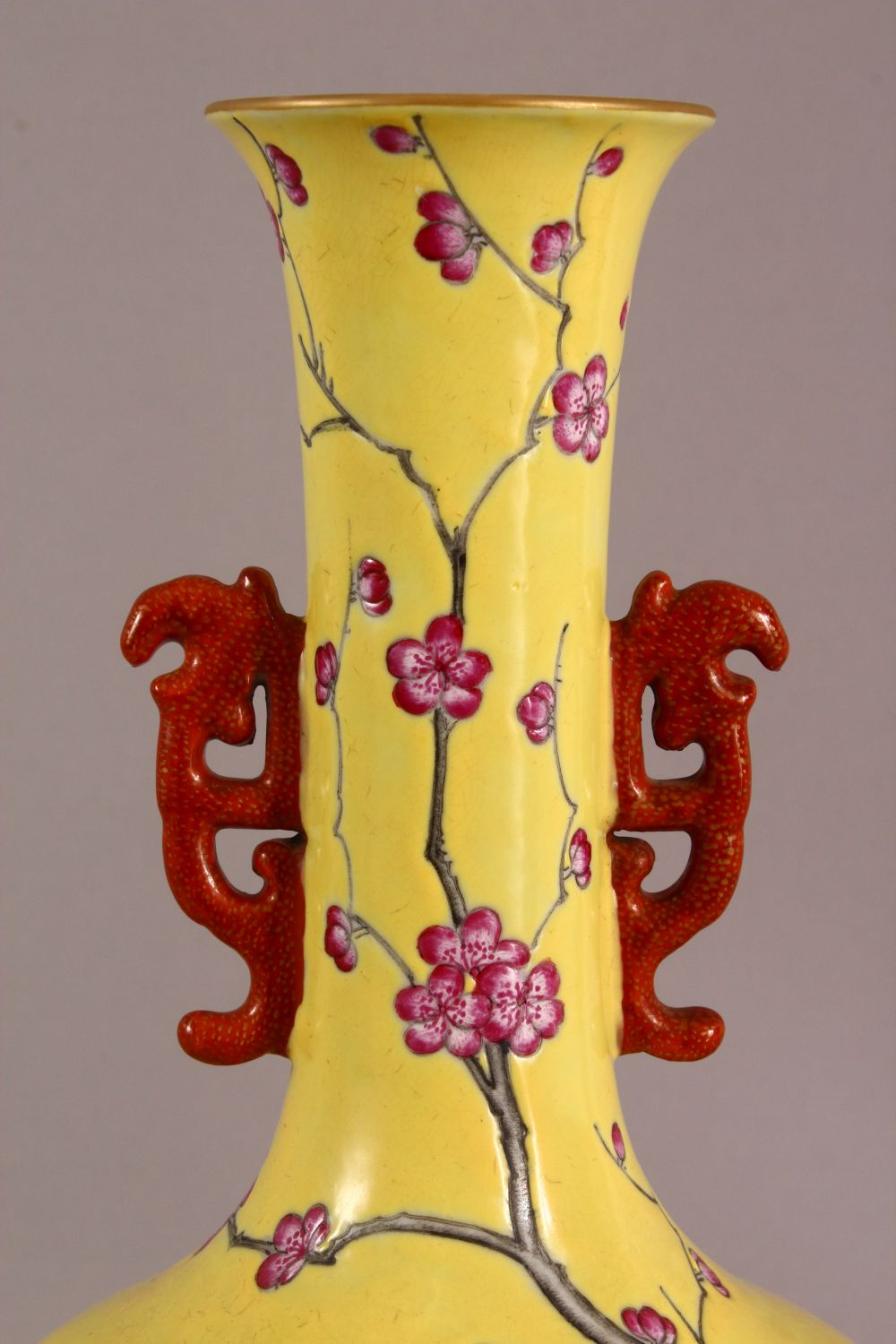 A CHINESE YELLOW GLAZED FAMILLE ROSE PORCELAIN VASE, decorated with birds in trees, with a mark - Image 2 of 9