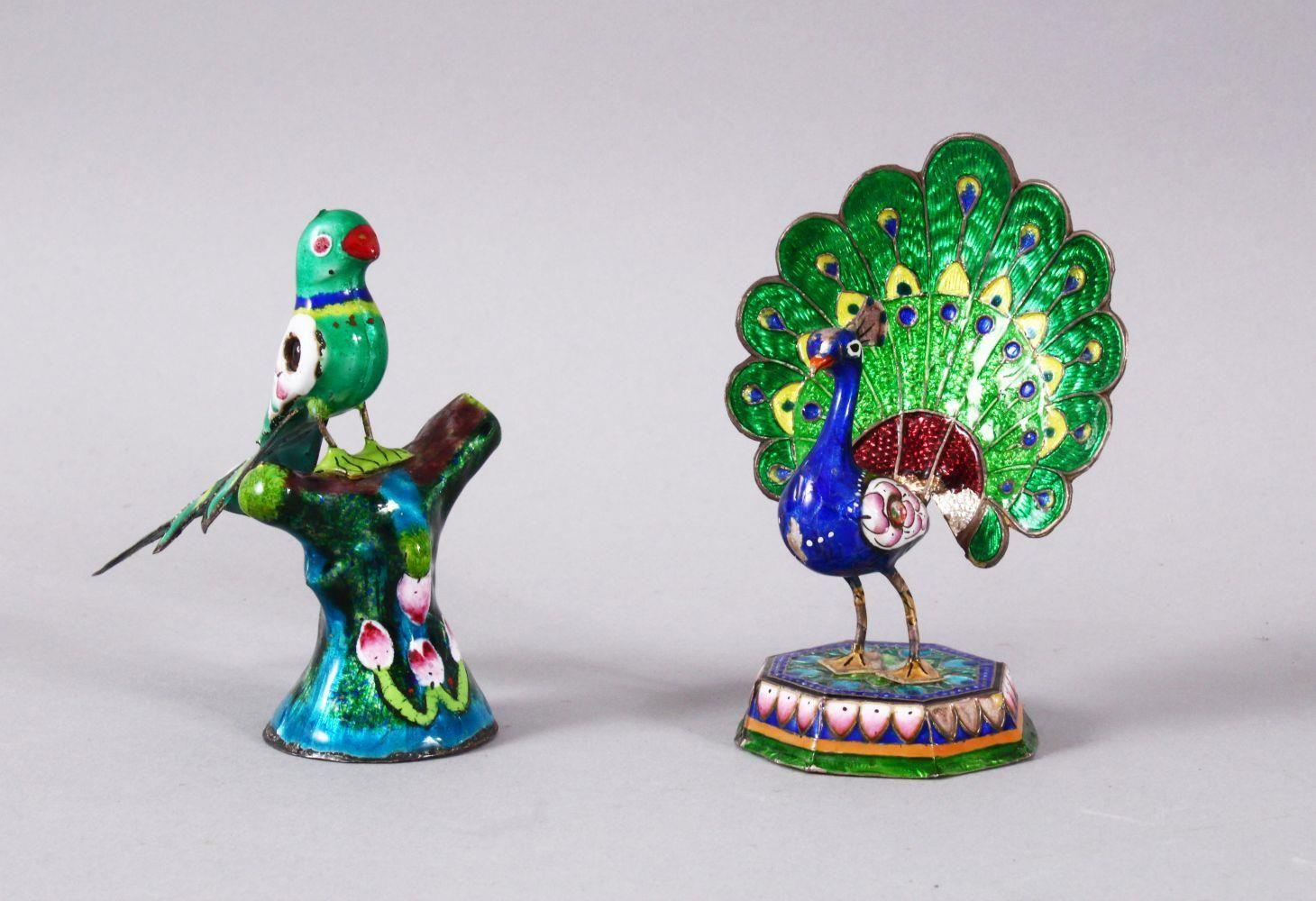 TWO 19TH / 20TH CENTURY INDIAN ENAMEL BIRD FIGURES, one of a peacock, the other of a bird upon