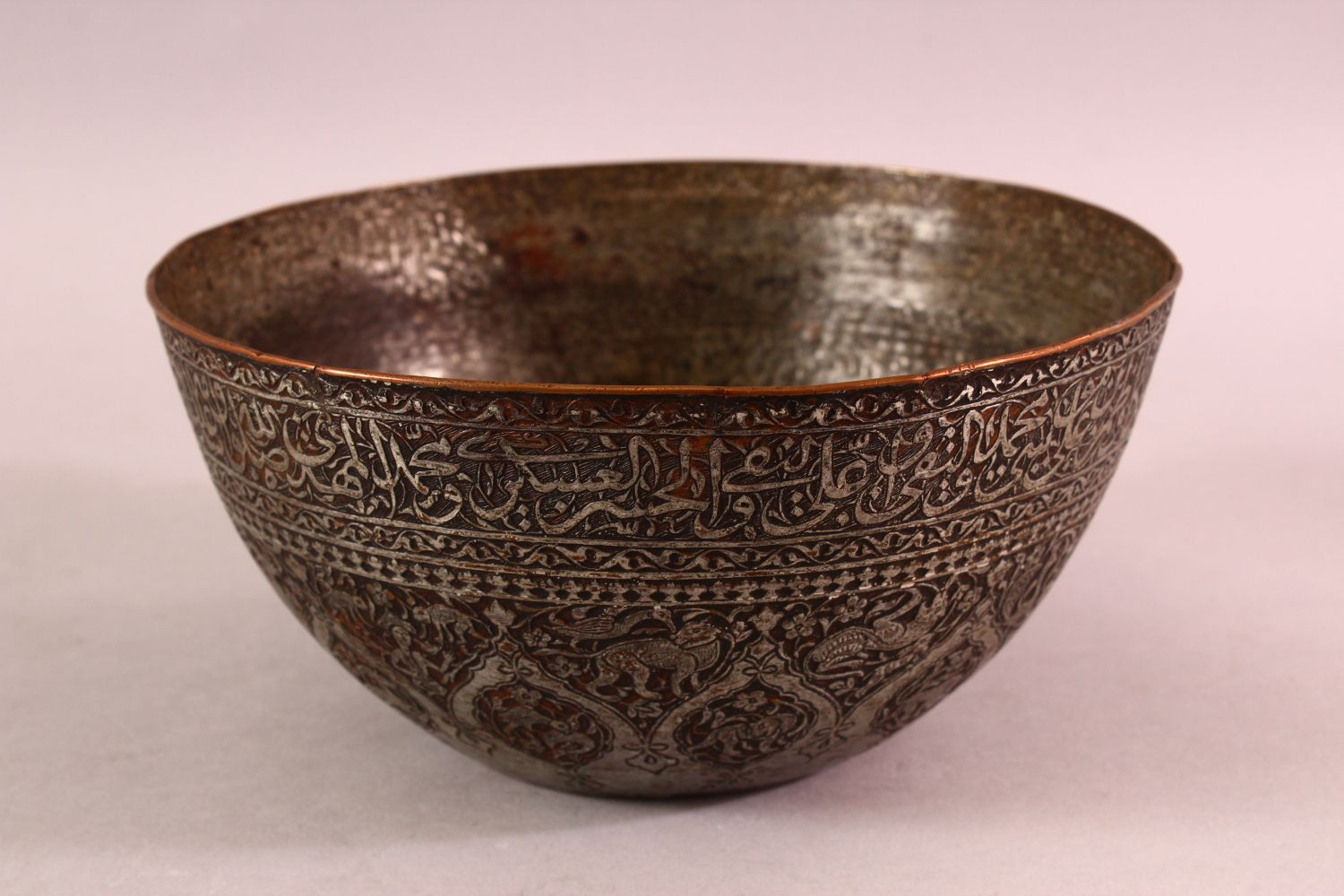 A GOOD ZANDI TINNED COPPER ENGRAVED CALLIGRAPHIC BOWL, with bands of calligraphy, 19cm diameter, - Image 2 of 6