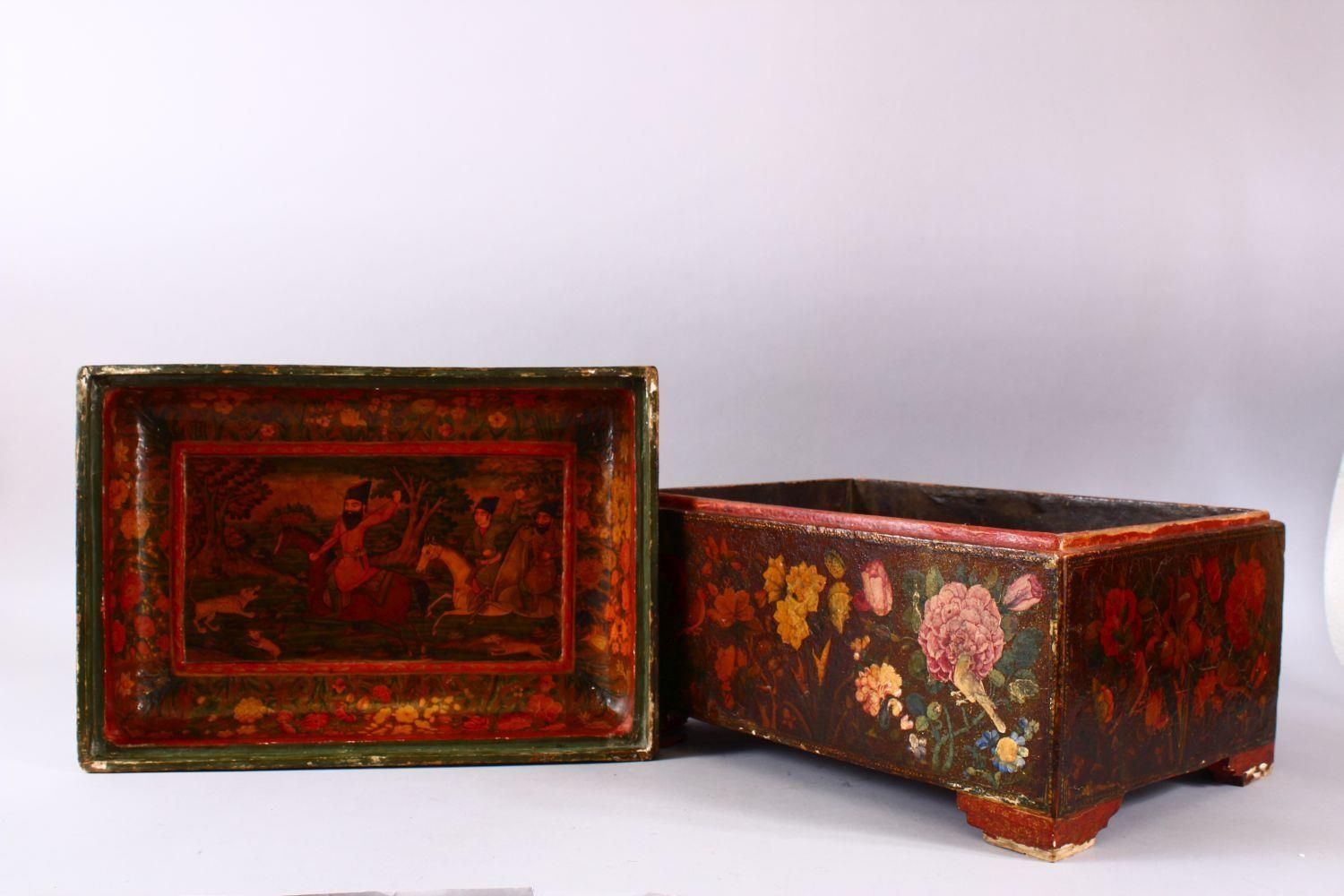 A GOOD PERSIAN QAJAR LACQUER PAINTED LIDDED BOX, decorated to the exterior with birds and detailed - Image 10 of 15