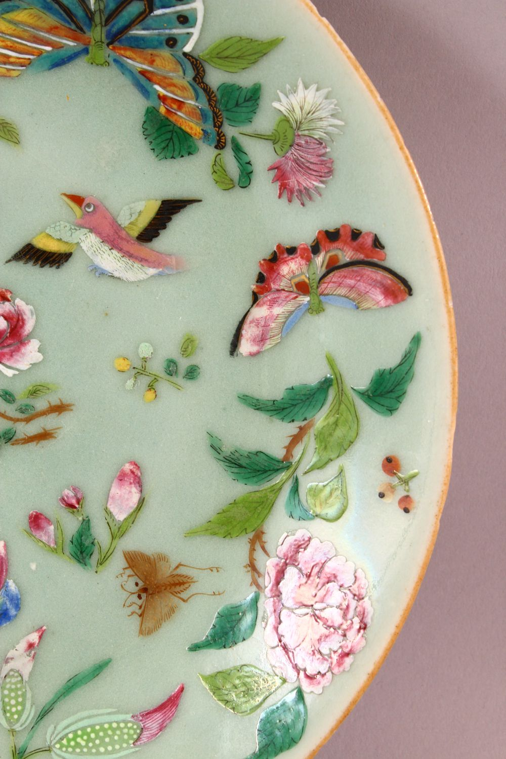 A 19TH CENTURY CHINESE CELADON FAMILLE ROSE PORCELAIN PLATE, With decoration of birds, flowers and - Image 5 of 7