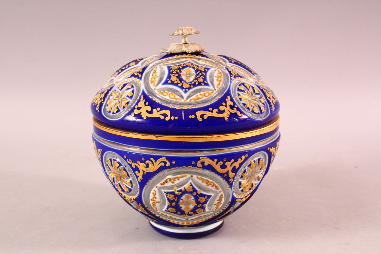 A BOHEMIAN BLUE CUT GLASS ENAMELED SWEET JAR & COVER, 17cm high. - Image 2 of 5