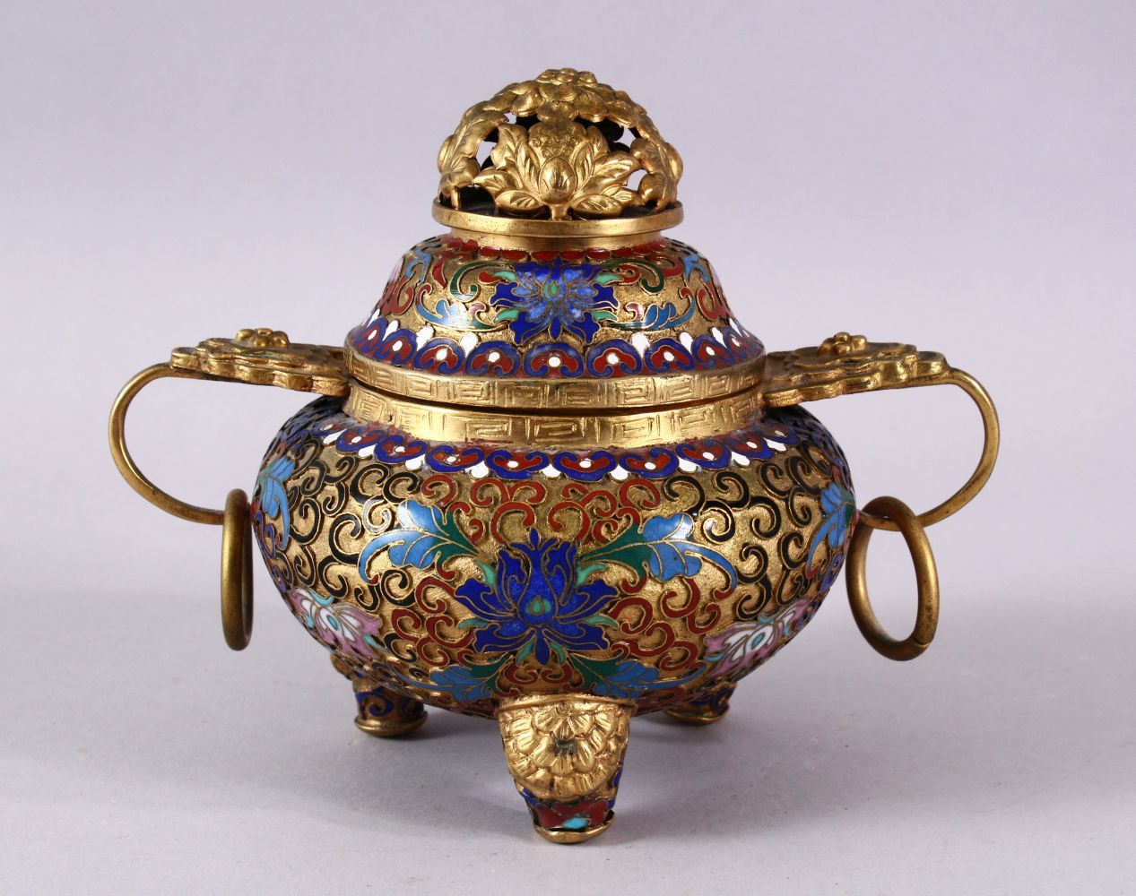 A CHINESE CLOISONNE TRIPLE FOOT CENSER & COVER, with raised enamel decoration of lotus, triple