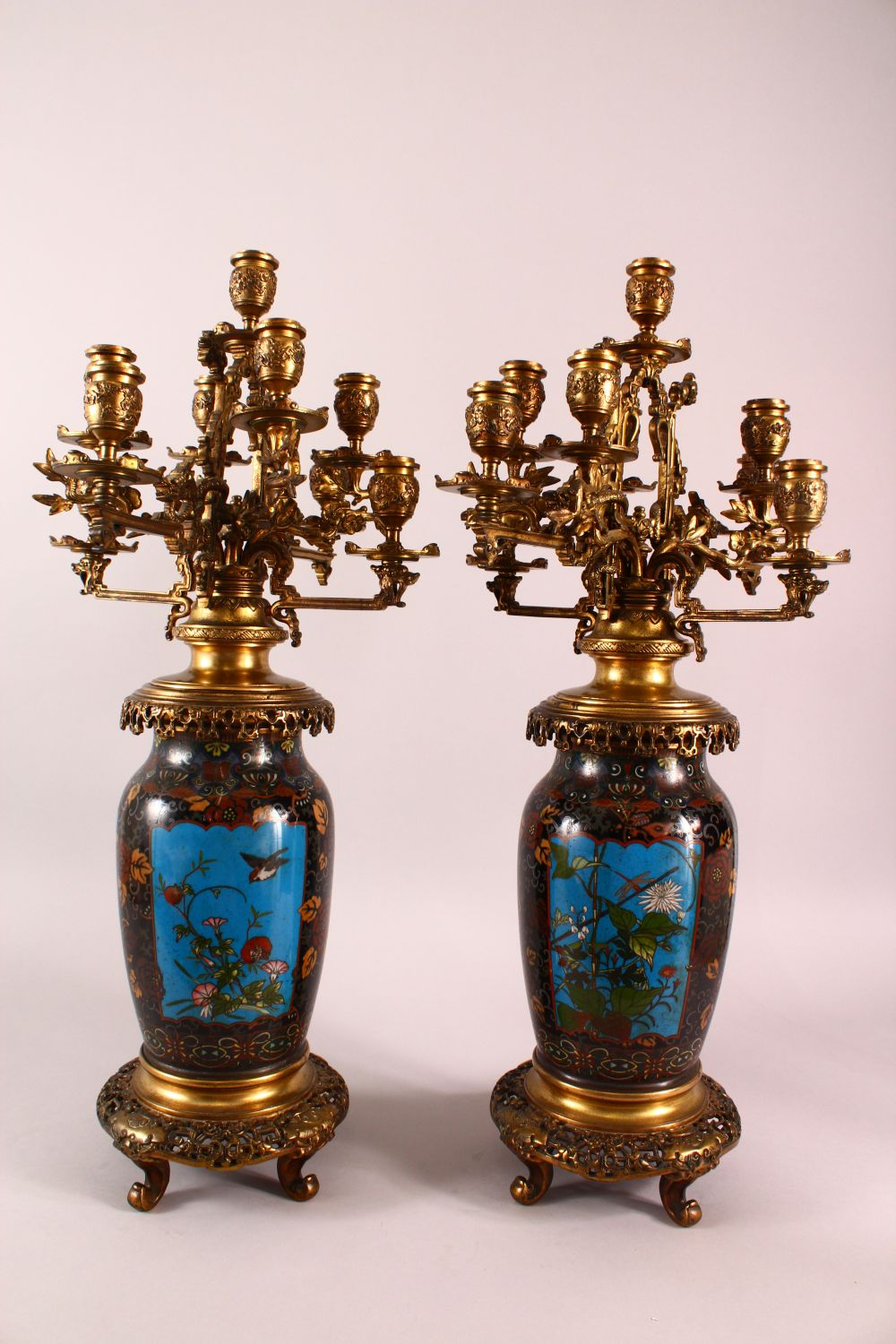 A VERY GOOD PAIR OF JAPANESE CLOISONNE AND ORMOLU NINE LIGHT CANDELABRA, the candle branches - Image 7 of 12