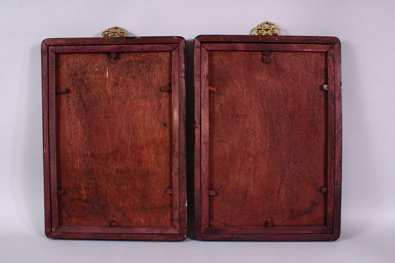 A PAIR OF REVERSE PAINTED FRAMED PICTURES, of young ladies, 34cm x 23cm. - Image 5 of 5
