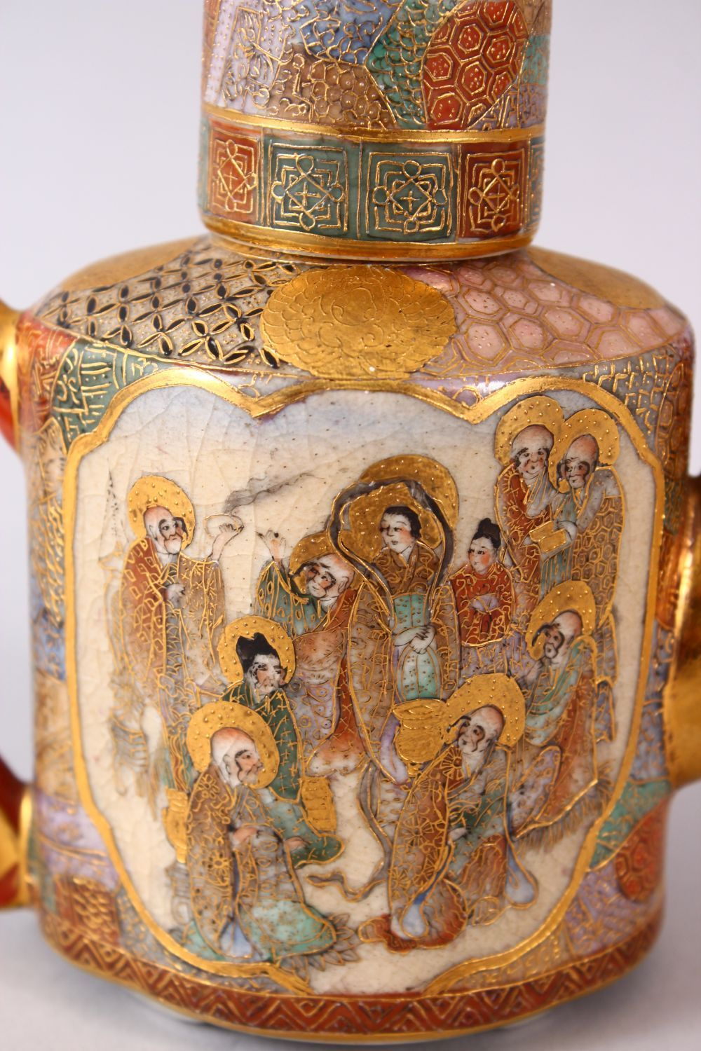 A JAPANESE MEIJI PERIOD SATSUMA TEAPOT & COVER, the body with two panels of immortal figures and - Image 2 of 9