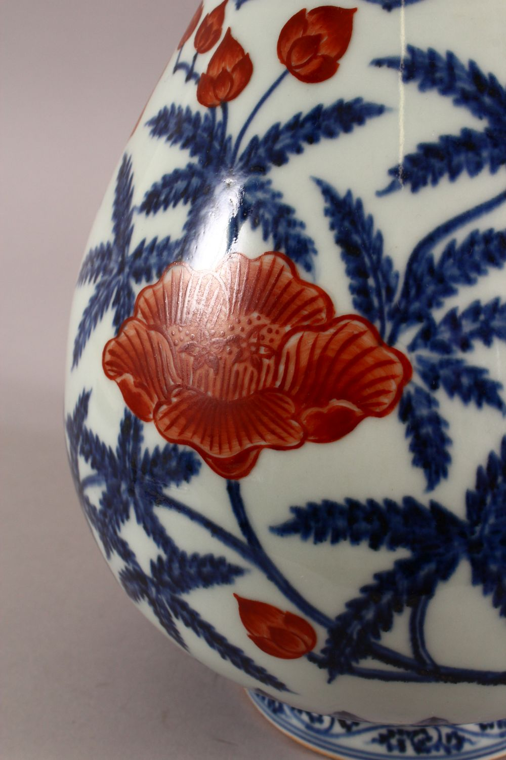 A CHINSE UNDEGLAZED BLUE & COPPER RED LOTUS PORCELAIN VASE, the base with a six character mark, 34cm - Image 5 of 7