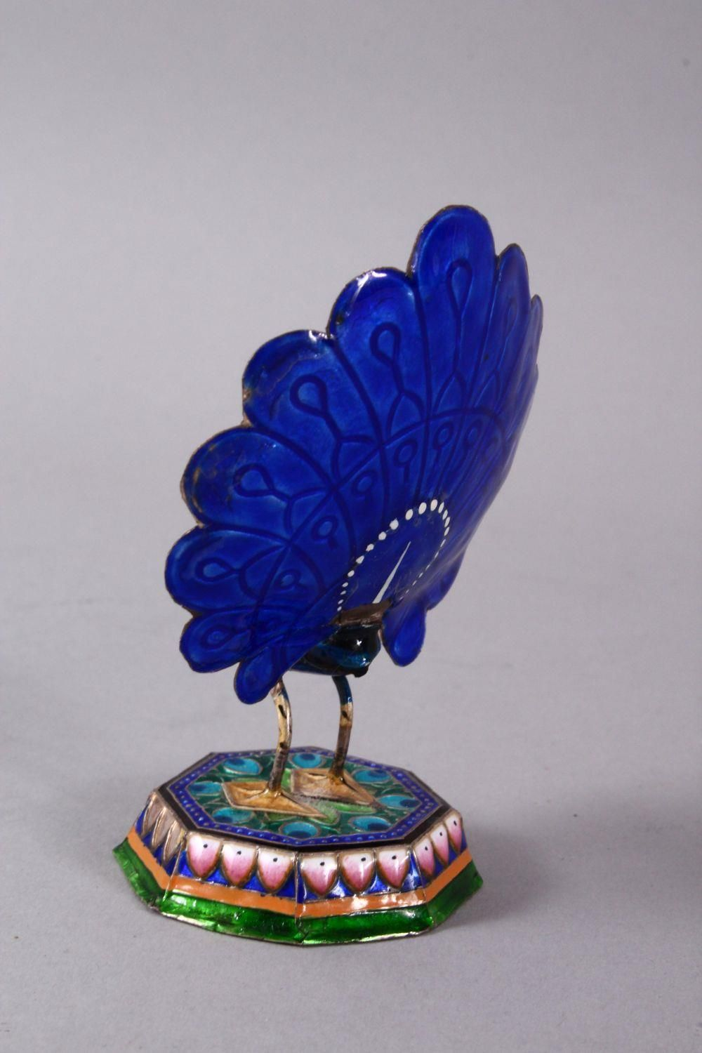 TWO 19TH / 20TH CENTURY INDIAN ENAMEL BIRD FIGURES, one of a peacock, the other of a bird upon - Image 4 of 8