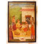 AN INDIAN PAINTING ON CANVASS OF PRINCE AND ATTENDANTS, seated in the garden having a picnic, 83cm x