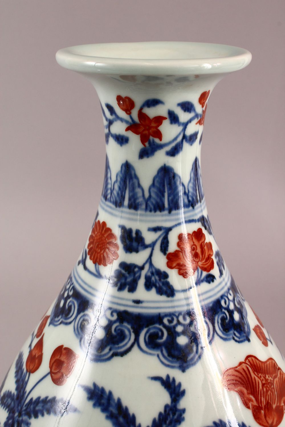 A CHINSE UNDEGLAZED BLUE & COPPER RED LOTUS PORCELAIN VASE, the base with a six character mark, 34cm - Image 4 of 7