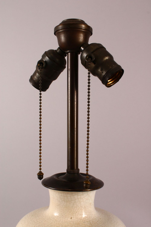 A CHINESE CRACKLE GLAZED PORCELAIN VASE / LAMP, 61CM - Image 2 of 4