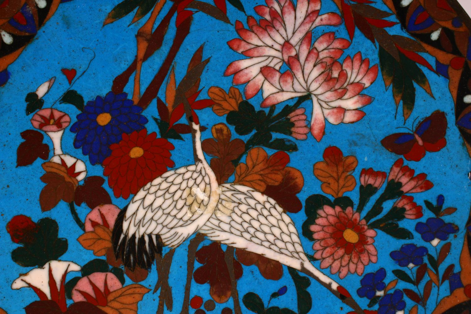 A JAPANESE CLOISONNE DISH, decorated with cranes and flowers, 30cm diameter. - Image 2 of 3