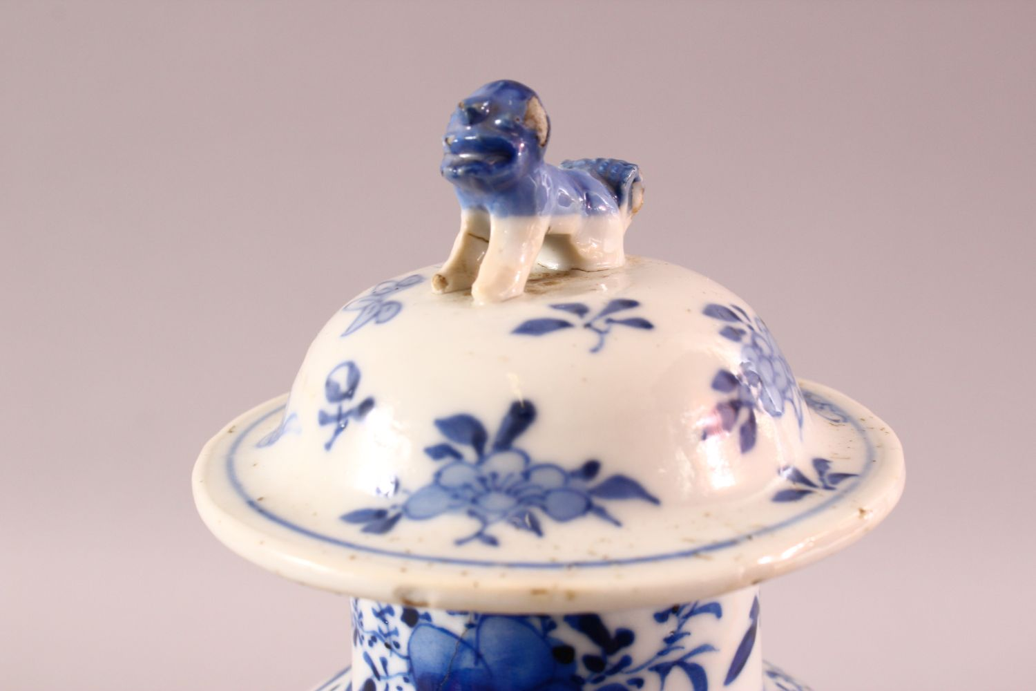 A CHINESE BLUE & WHITE PORCELAIN LANDSCAPE VASE, with decoration of landscapes, with a lion dog - Image 5 of 8