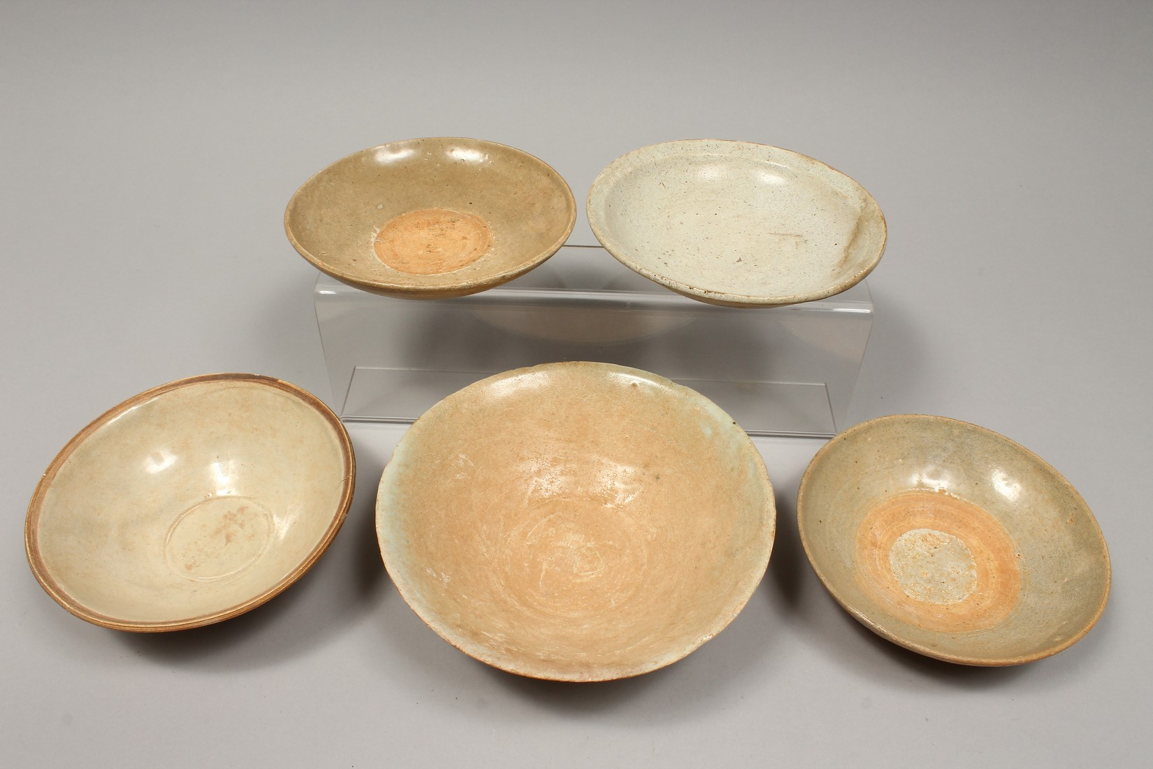 FIVE CHINESE POTTERY BOWLS. - Image 2 of 2