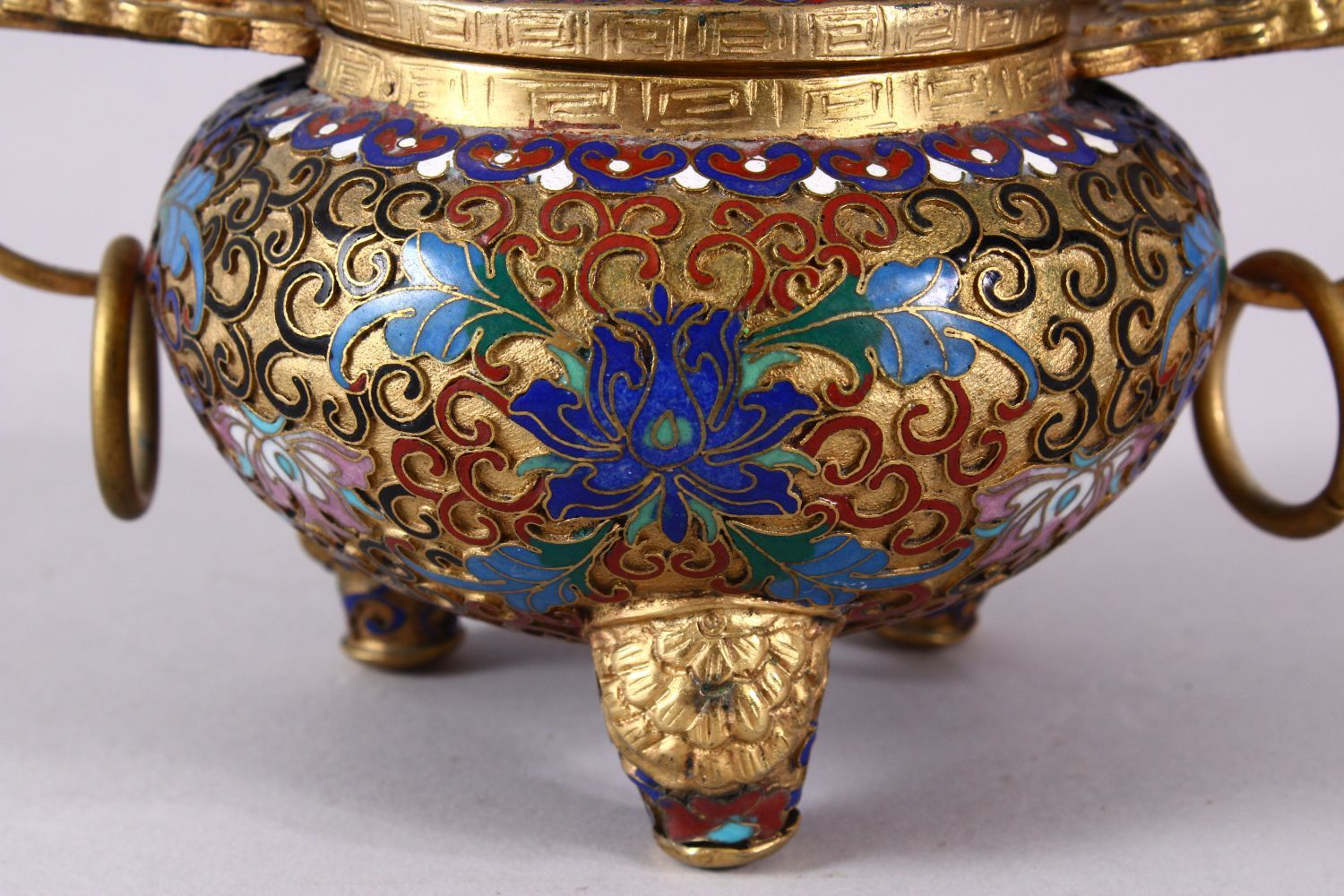 A CHINESE CLOISONNE TRIPLE FOOT CENSER & COVER, with raised enamel decoration of lotus, triple - Image 2 of 8