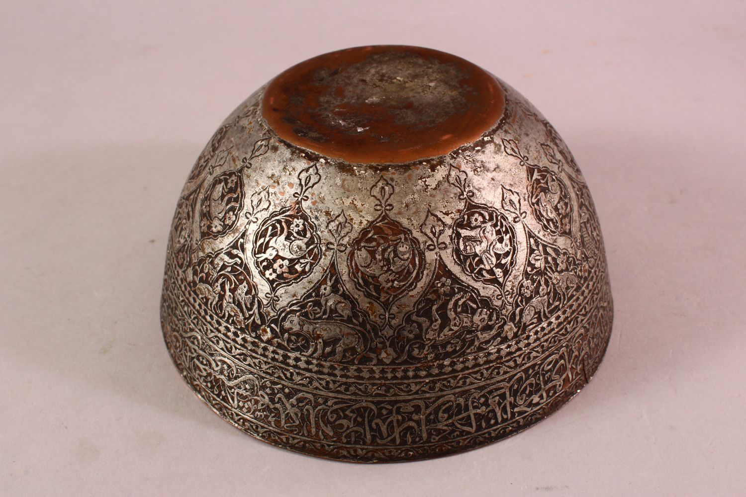 A GOOD ZANDI TINNED COPPER ENGRAVED CALLIGRAPHIC BOWL, with bands of calligraphy, 19cm diameter, - Image 6 of 6