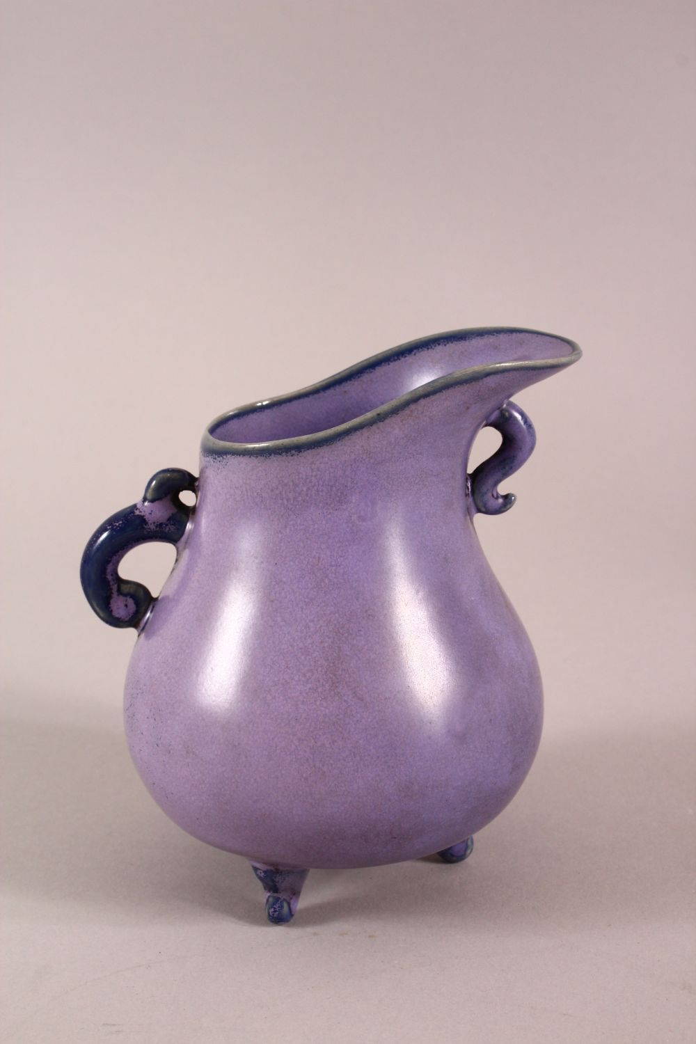 A CHINESE SONG STYLE AUBERGINE GLAZE WINE POT, with tripod feet, the base with a mark, 13cm high. - Image 3 of 6