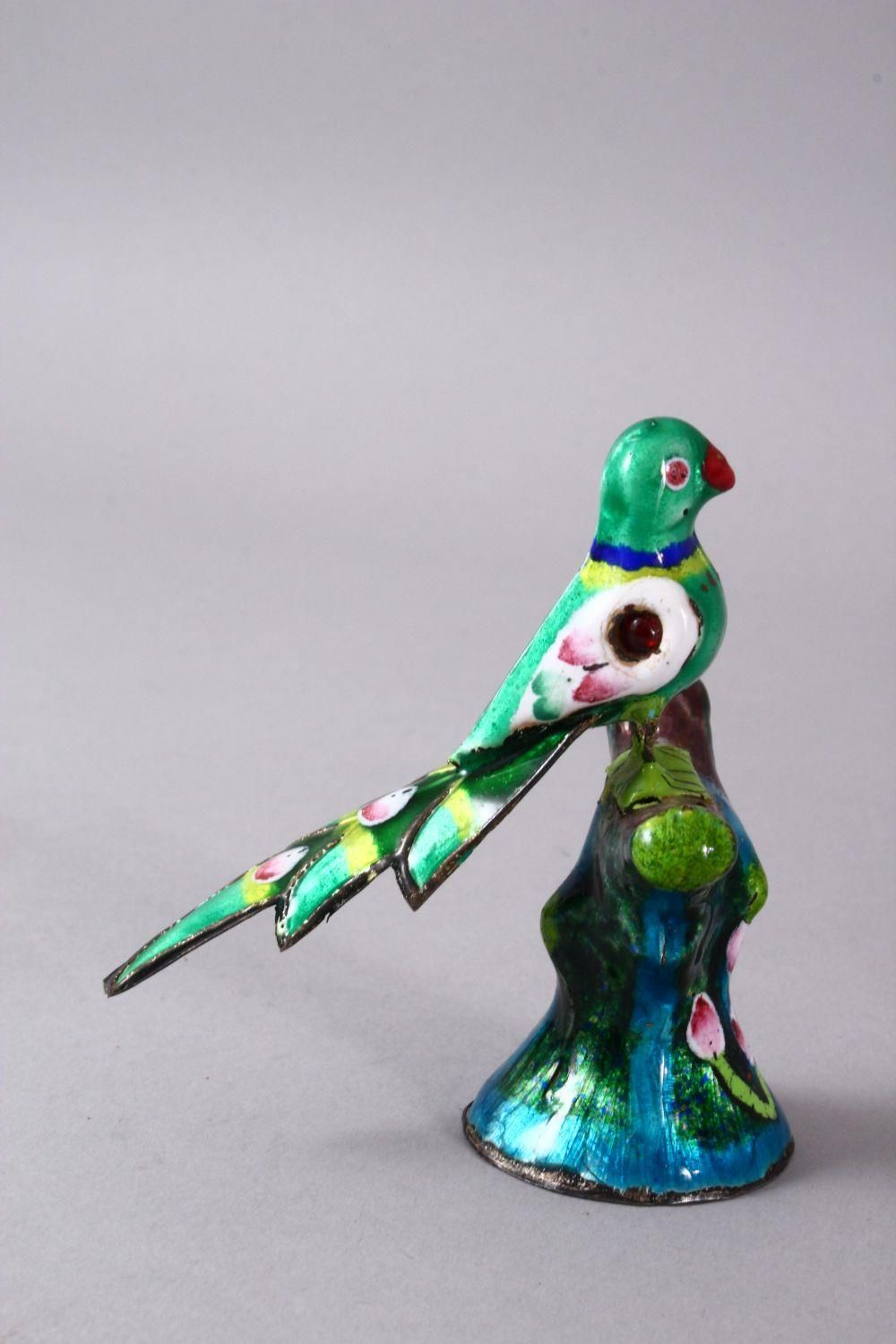 TWO 19TH / 20TH CENTURY INDIAN ENAMEL BIRD FIGURES, one of a peacock, the other of a bird upon - Image 6 of 8