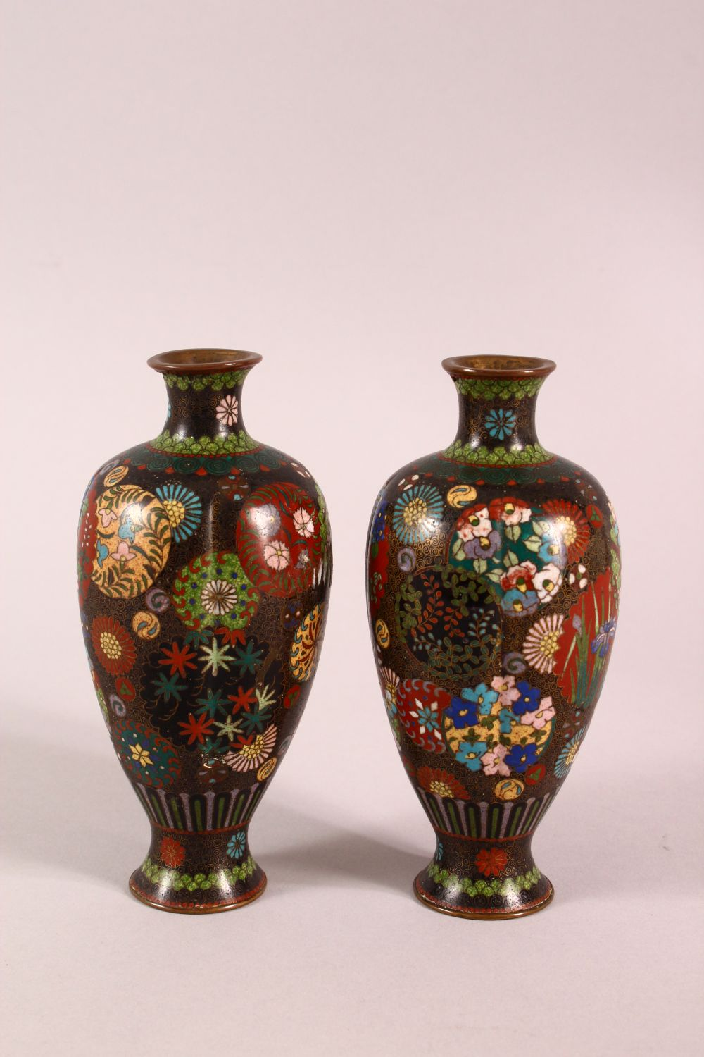 A PAIR OF SMALL CLOISONNE VASES OF RIBBED BALUSTER FORM, decorated with roundels of flowers, 15cm - Image 2 of 6