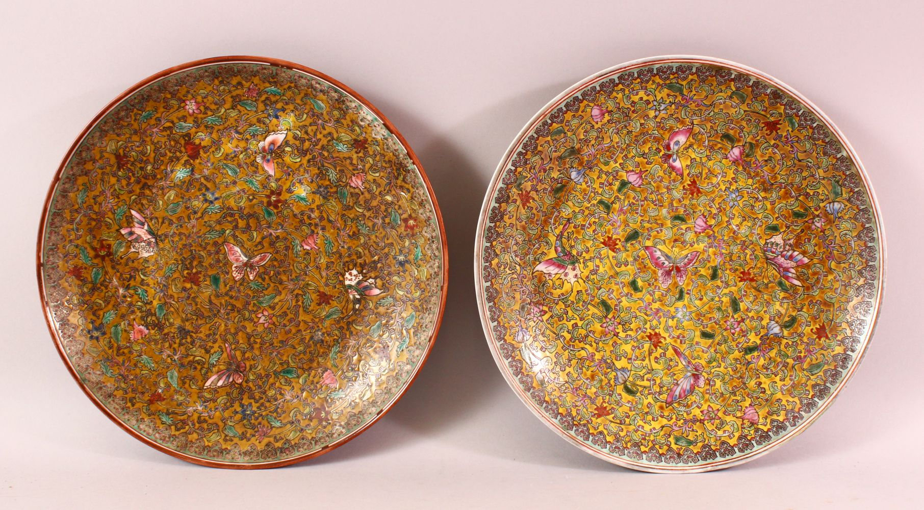 A TWO 19TH / 20TH CENTURY CHINESE FAMILLE ROSE PORCELAIN MILLEFLUER DISH, both with butterfly and
