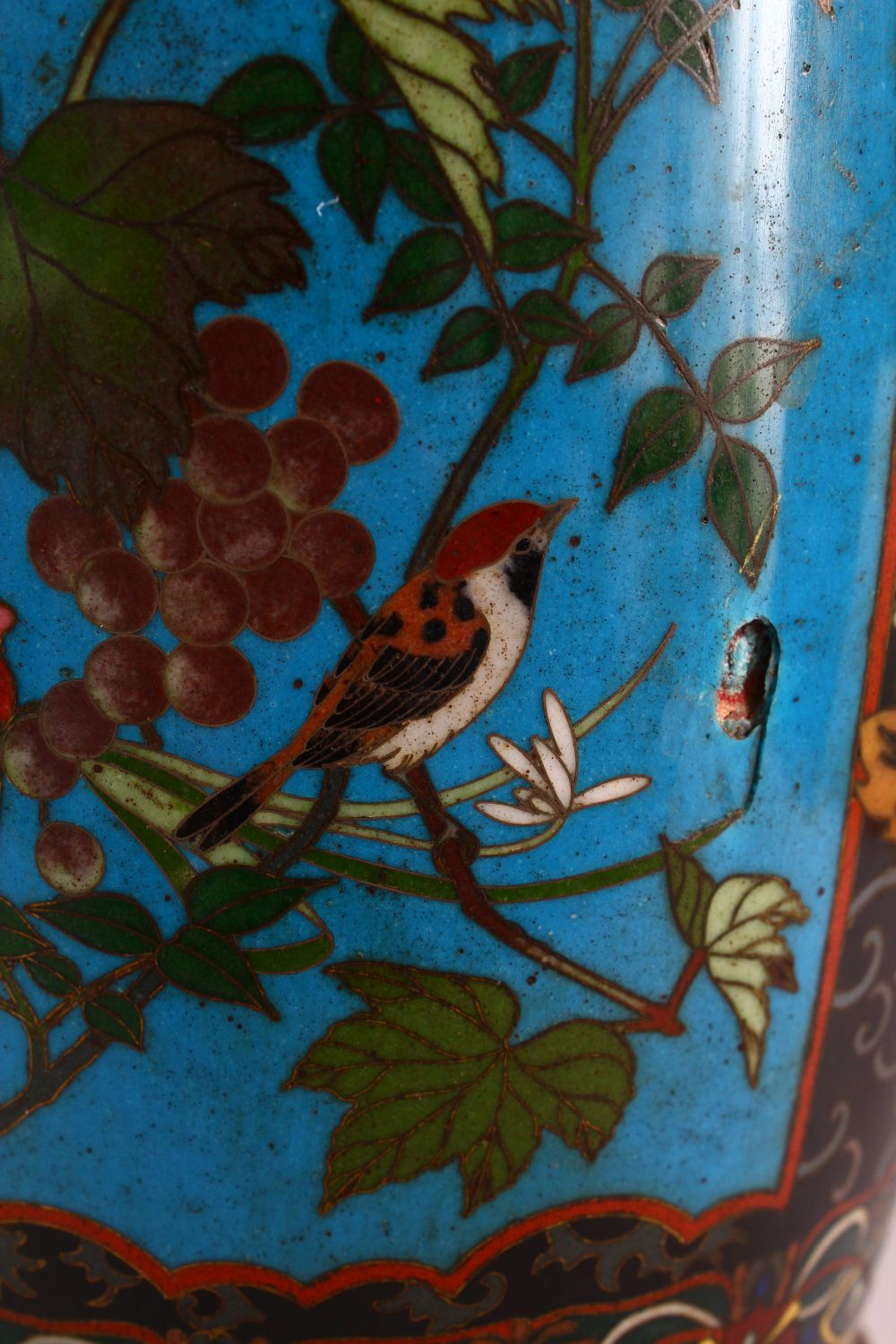 A VERY GOOD PAIR OF JAPANESE CLOISONNE AND ORMOLU NINE LIGHT CANDELABRA, the candle branches - Image 6 of 12